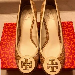 Tory Burch Raffia Straw & Leather Wedge Heels